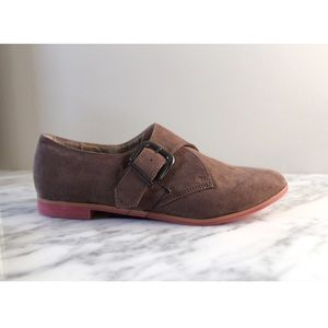• XXI RED BOTTOM BROWN SUEDE BUCKLE OXFORDS •
